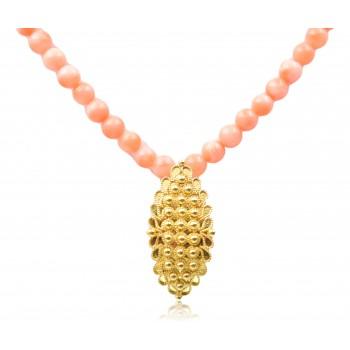Collana Filigrana fede sarda con filo di corallo rosa