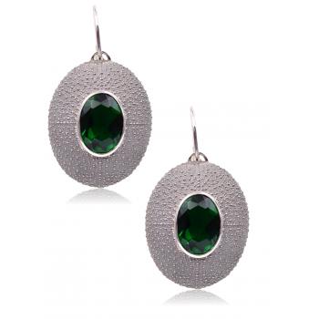 Orecchini Iskida Pedra bruniti con pietra verde